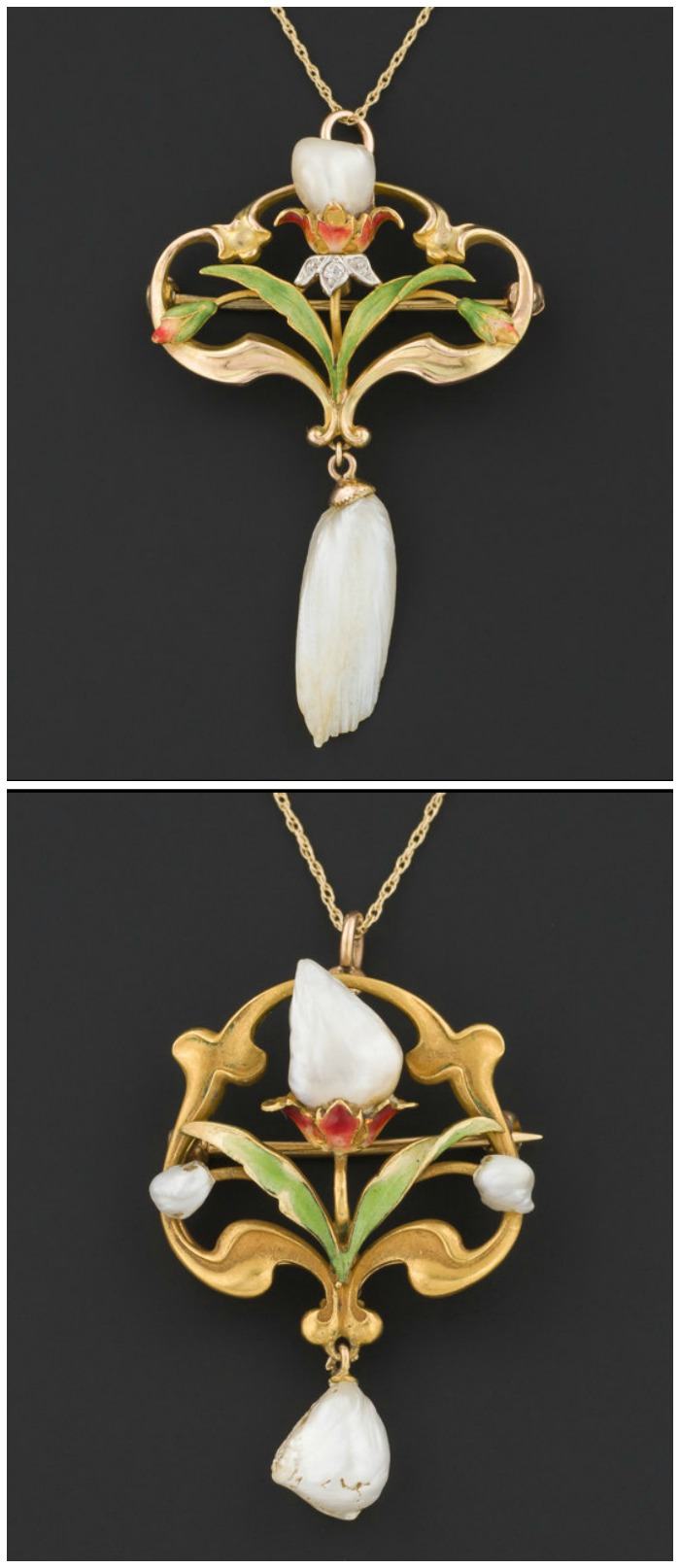 Two antique Art Nouveau flower necklaces with pearls, diamonds, and enamel detailing.