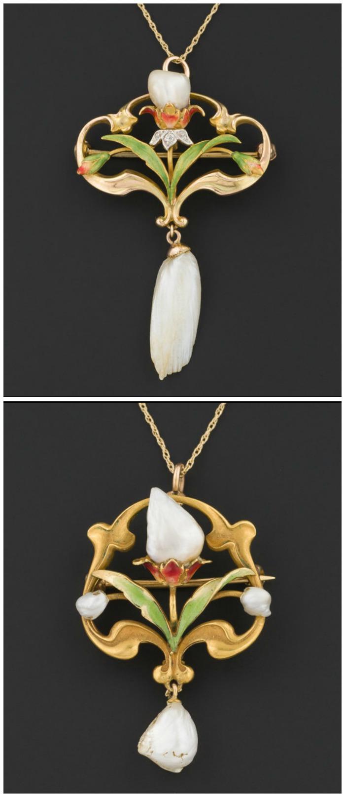 Two antique Art Nouveau flower necklaces with pearls, diamonds, and enamel detailing.