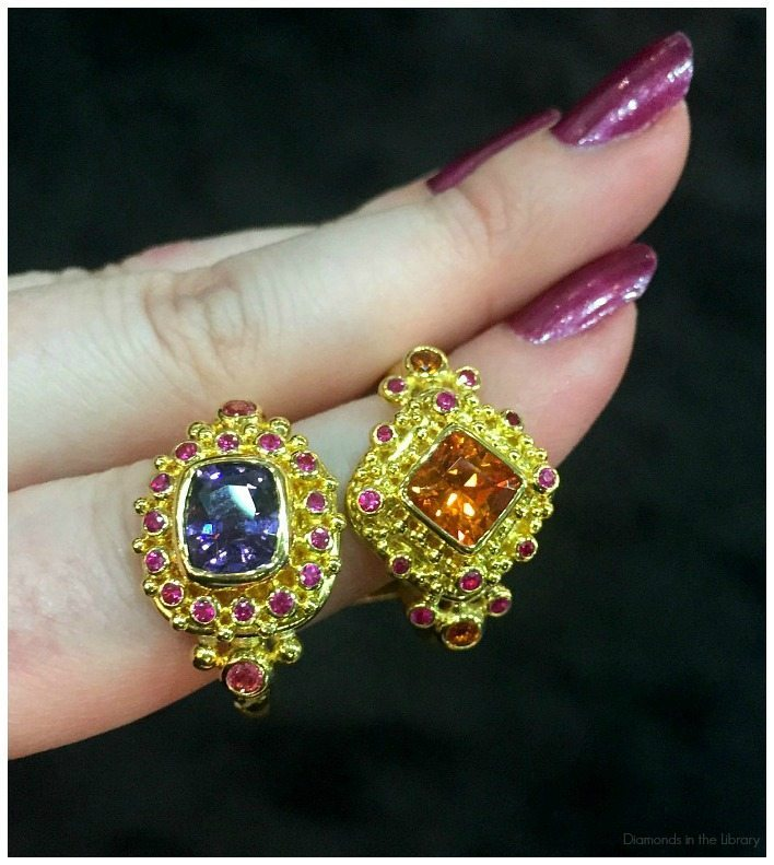 Two beautiful granulated gold and gemstone rings by Zaffiro jewelry.