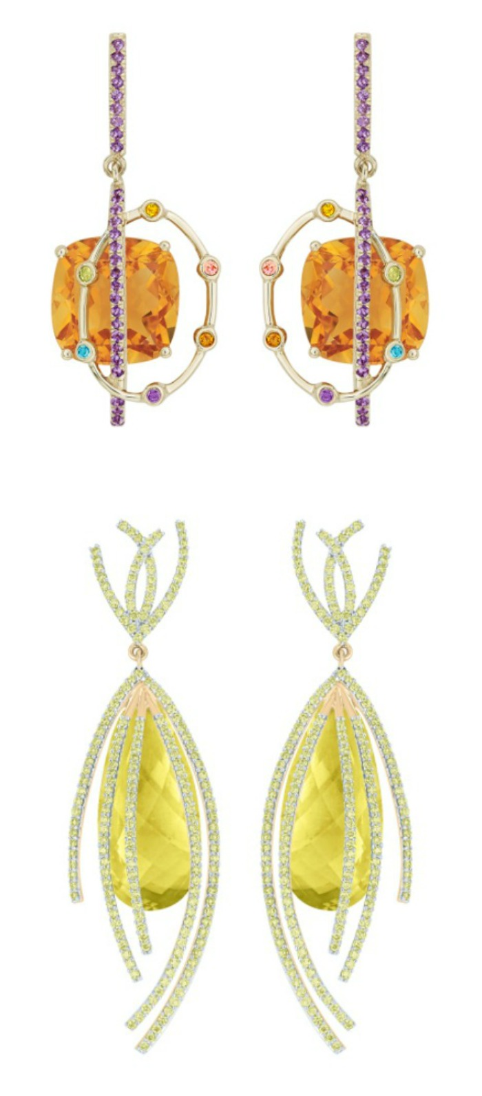 Two pairs of gemstone and diamond earrings in recycled gold; from the Arya Esha Galaxy Collection