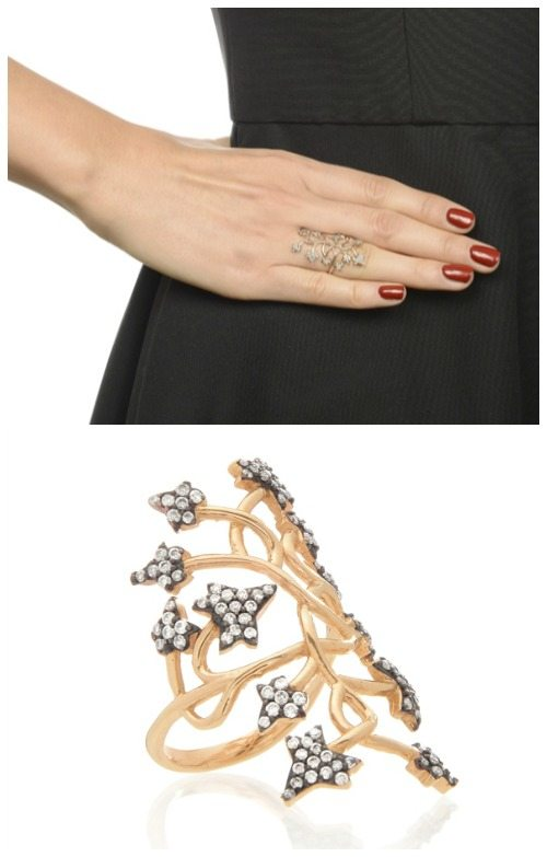 Aida Bergsen petite ivy ring in 14k rose gold with diamonds.