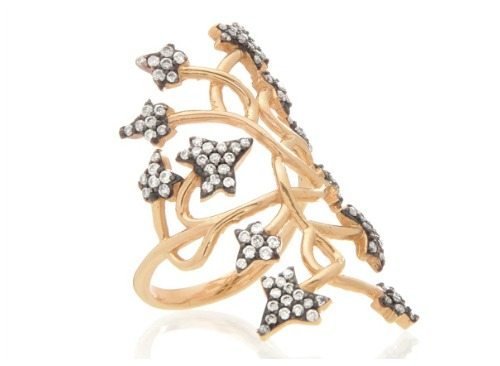 Aida Bergsen's petite ivy ring in 14k rose gold with diamonds.