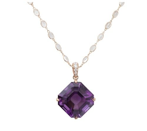 Amethyst Opening Night necklace from Katherine Jetter, with an amethyst pendant on a moonstone and rose gold chain.
