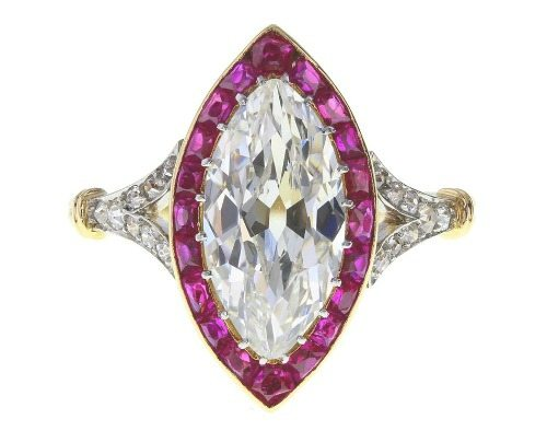 An antique Belle Epoque platinum and 18ct gold diamond and ruby cluster ring. Circa 1893. Of Royal provenance.