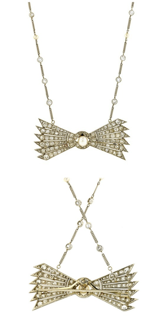 An antique diamond and pearl stylized bow convertible necklace. French, circa 1910. Becomes two bracelets and a brooch.