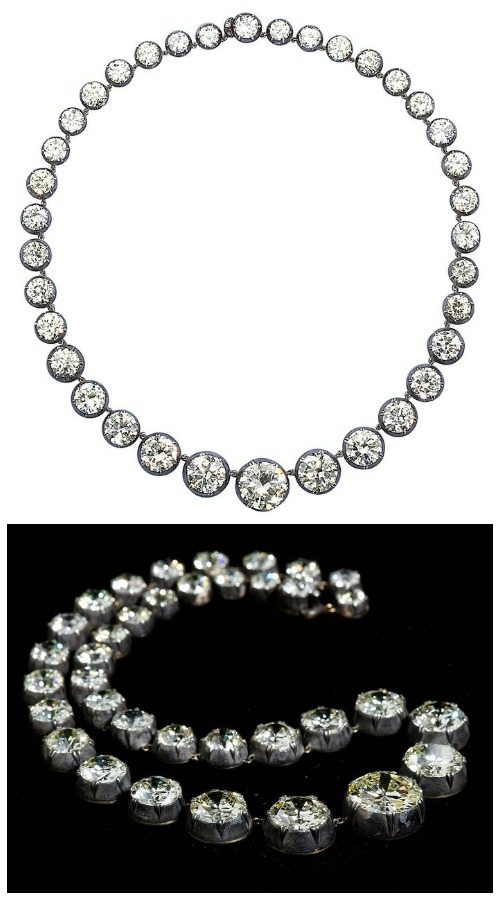An antique graduated diamond necklace; 85.90 carats.