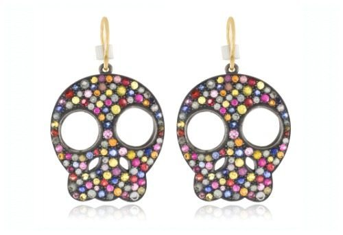 "SheBee Gem ""You're So Radical"" colored sapphire skull earrings. At Stone and Strand."