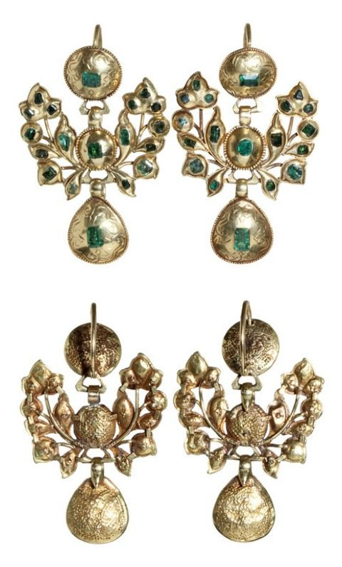Antique 18th century Iberian gold and emerald earrings. Hand made in 18k gold and emeralds, sourced in colonial mines in Columbia and Peru.