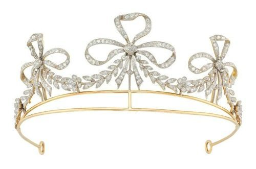 Antique Bailey, Banks and Biddle diamond scroll tiara, circa 1900.
