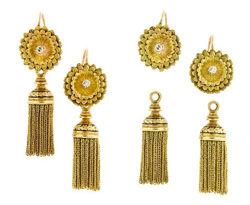Antique Day Night Diamond Tassel Earrings in 18k and 14k gold. Round floral tops centering Single cut diamonds, removable chain tassel drops with black enamel details. French, circa 1890.