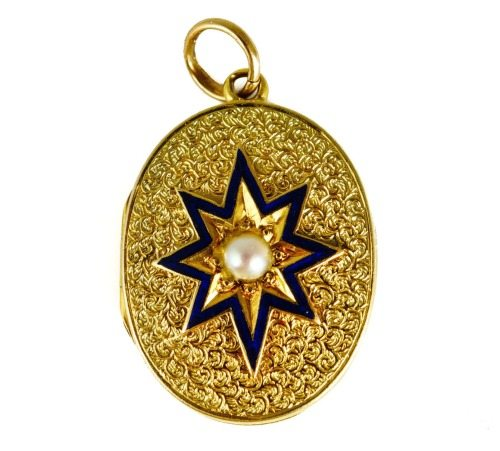 Antique English Victorian locket in gold with a pearl and blue enamel star.