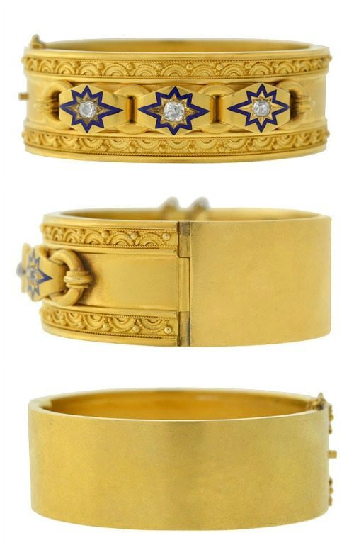 Antique Victorian Etruscan revival bracelet in gold with blue enamel and diamond starbursts.