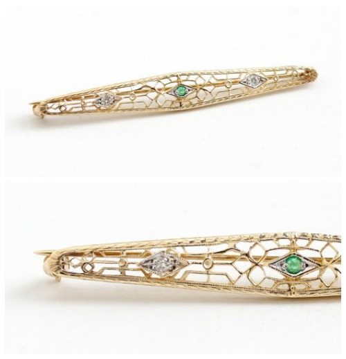 Art Deco emerald and diamond bar brooch in gold filigree.