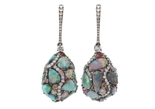 Arunashi black opal egg drop earrings with diamonds.