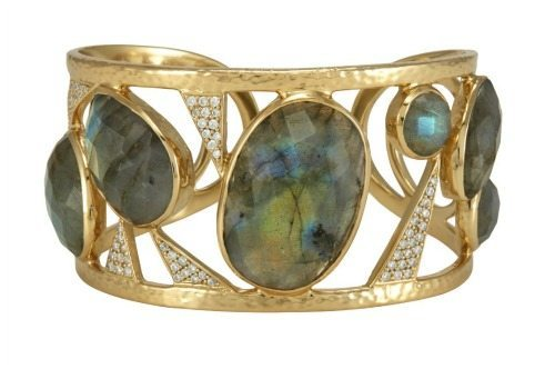 Cora cuff by Melinda Maria Designs; 14k gold plated with labrodorite and CZ crystals.