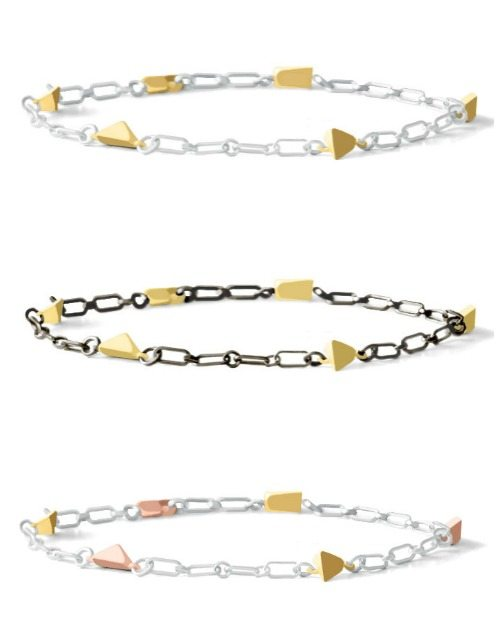 Dana Bronfman's Pyramid collection chain bracelet in yellow gold, rose gold, sterling silver, or oxidized silver.