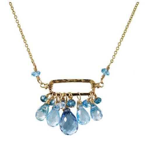 Dana Kellin cerulean mix rectangle necklace in gold