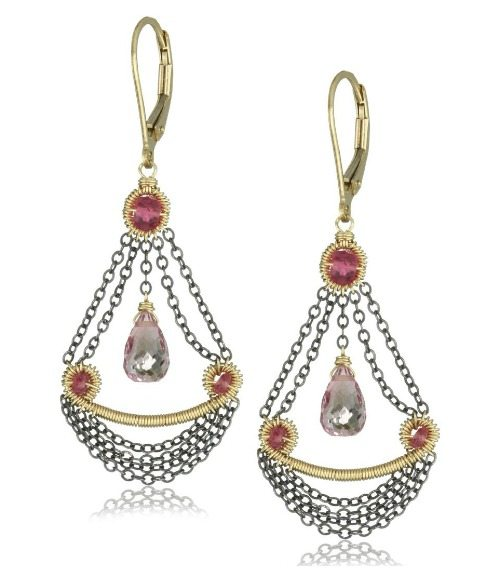 Dana Kellin pink quartz and chain swag chandelier earrings.