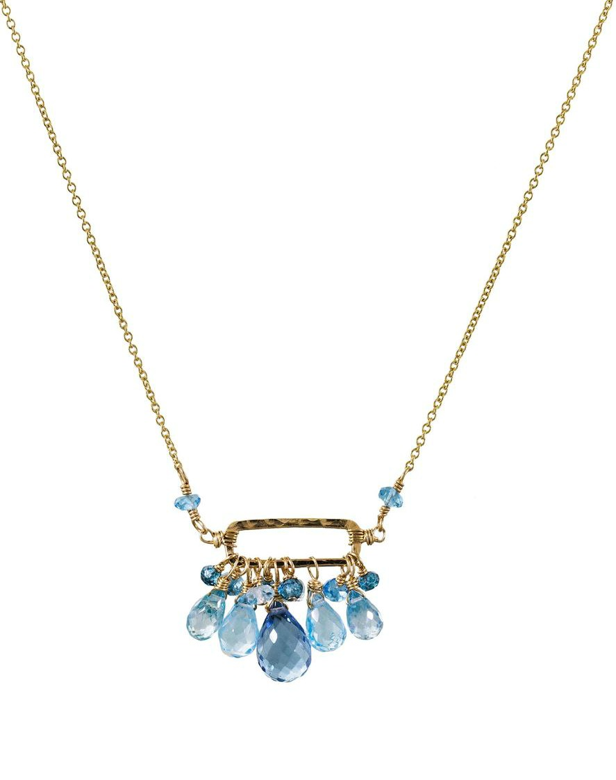 Dana Kellin's cerulean mix rectangle necklace in gold