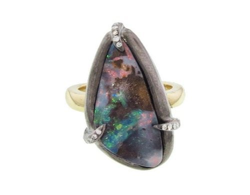 Deanna Hamro organic boulder opal and diamond ring in gold.
