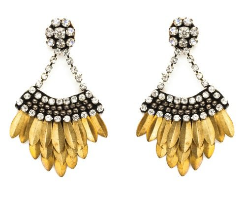 Deepa Gurnani layered feather drop earrings in gold with crystal.