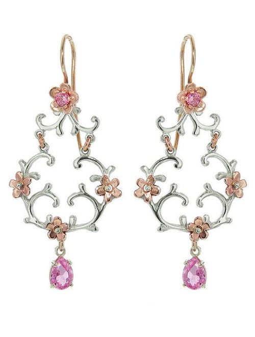 Handmade Laurent Gandini earrings in 9 karat white gold with rose gold flowers and pink tourmaline stones.