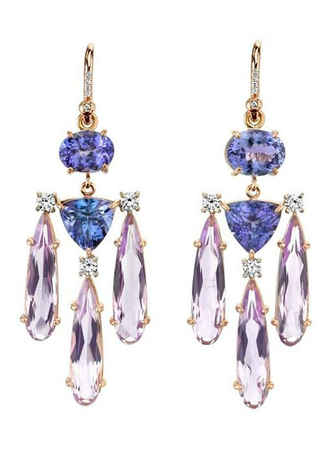 Irene Neuwirth tanzanite and Rose of France drop earrings in 18 karat rose gold