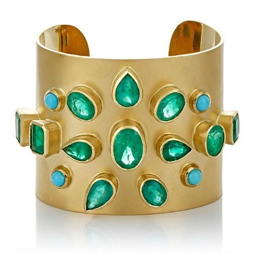 Irene Neuwirth wide gemstone cuff in 18k gold with emeralds and turquoise cabochons.