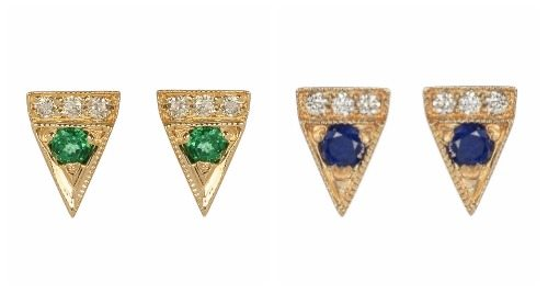 Jennie Kwon Deco Point stud earrings in gold with diamonds and sapphires or emeralds.