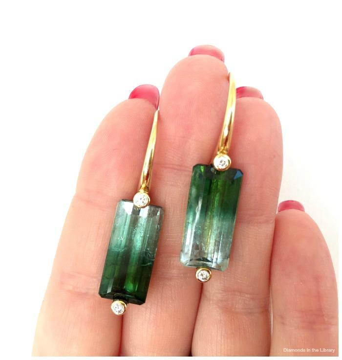 Julie Lamb bi-color tourmaline and diamond earrings.