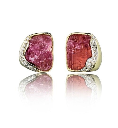 Kara Ross Petra Raw Stud Earrings In Rubellite