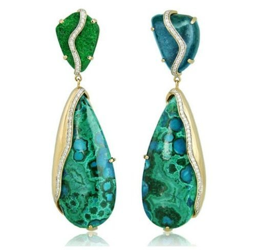 Kara Ross' Petra one of a kind drop earrings in uvarovite and chrysocola.