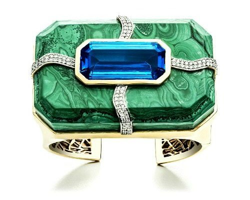 Large Kara Ross Cava cuff in malachite with blue topaz inset