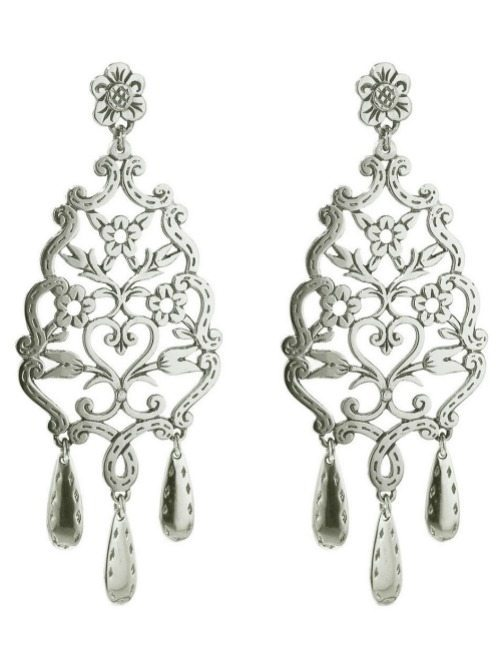 Laurent Gandini sterling silver floral lace earrings.