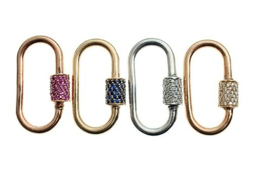 Marla Aaron medium locks in gold with diamonds or sapphires.