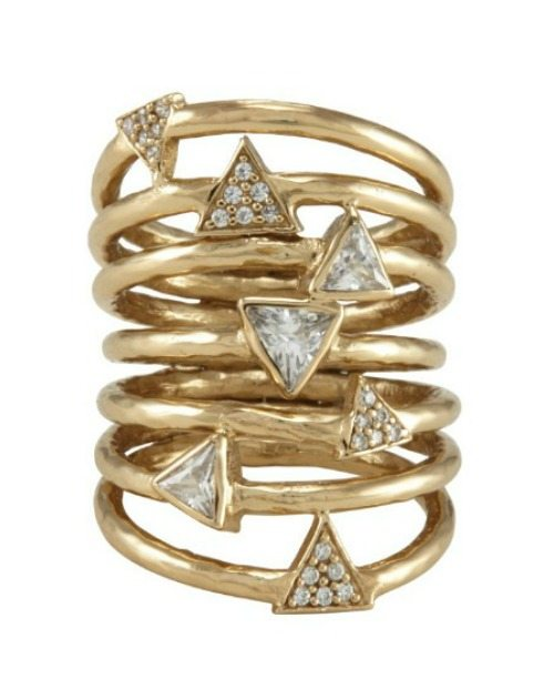 Melinda Maria Taryn ring, featuring white cz crystals in a 14k gold plated design. Packs a serious punch for the price point.