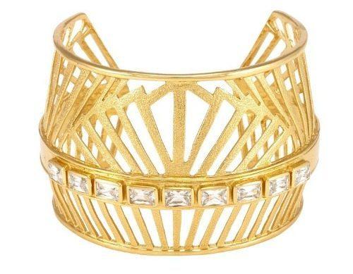 Melinda Maria gold plated Natasha cuff bracelet with white cz crystals.