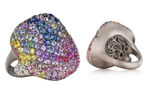 Naomi Sarna multicolored diamond and sapphire petal ring in white gold.