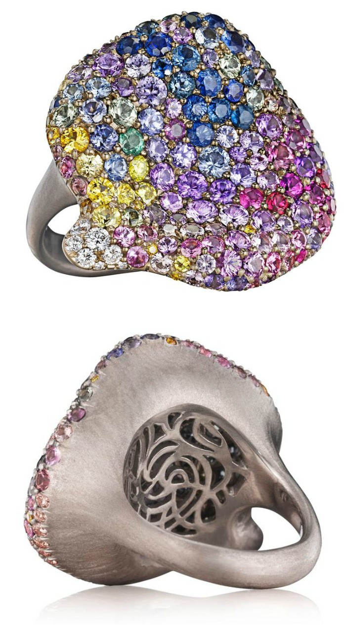 Naomi Sarna's multicolored diamond and sapphire petal ring in white gold.