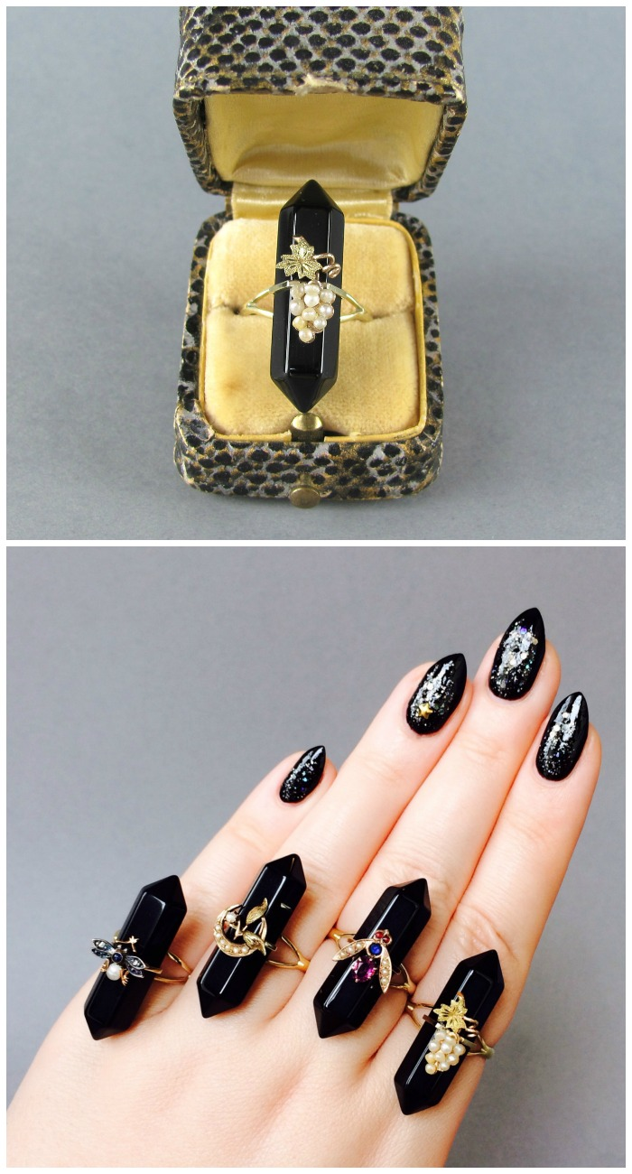 Onyx hexagon point ring with grape accent from a converted antique stickpin.