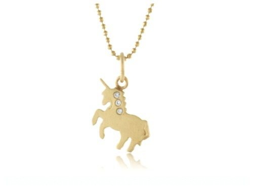 Page Sargisson mini unicorn charm in 10k gold with diamonds.