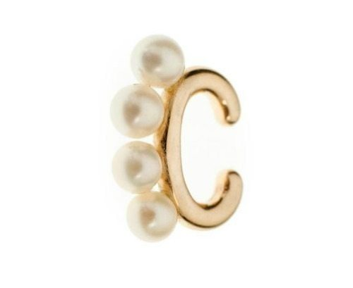 Pearl and gold Cuffling™ series earcuff by Marla Aaron