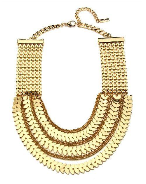 Piper Strand gold chevron bib statement necklace.