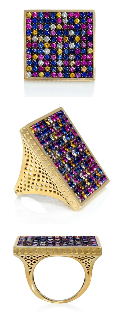 Ray Griffiths' multicolored sapphire square ring in gold. At Stone and Strand.