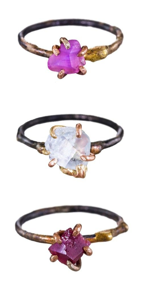 Rings by Variance Objects with gemstones in oxidized silver and yellow gold.