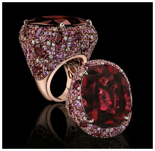 Robert Procop ring with a 56.31ct tw cushion rubellite, 13.48 ct pink sapphire, 7.05ct ruby, 0.63ct diamonds set in 18k rose gold