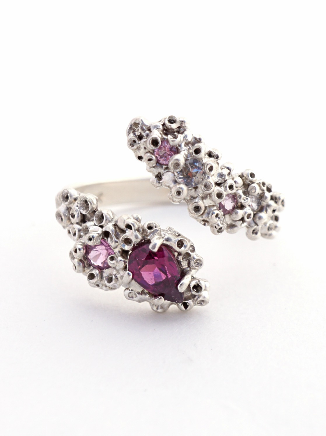 Ruta Reifen So Fine Collection Keter silver ring with pink sapphires and rhodolite.