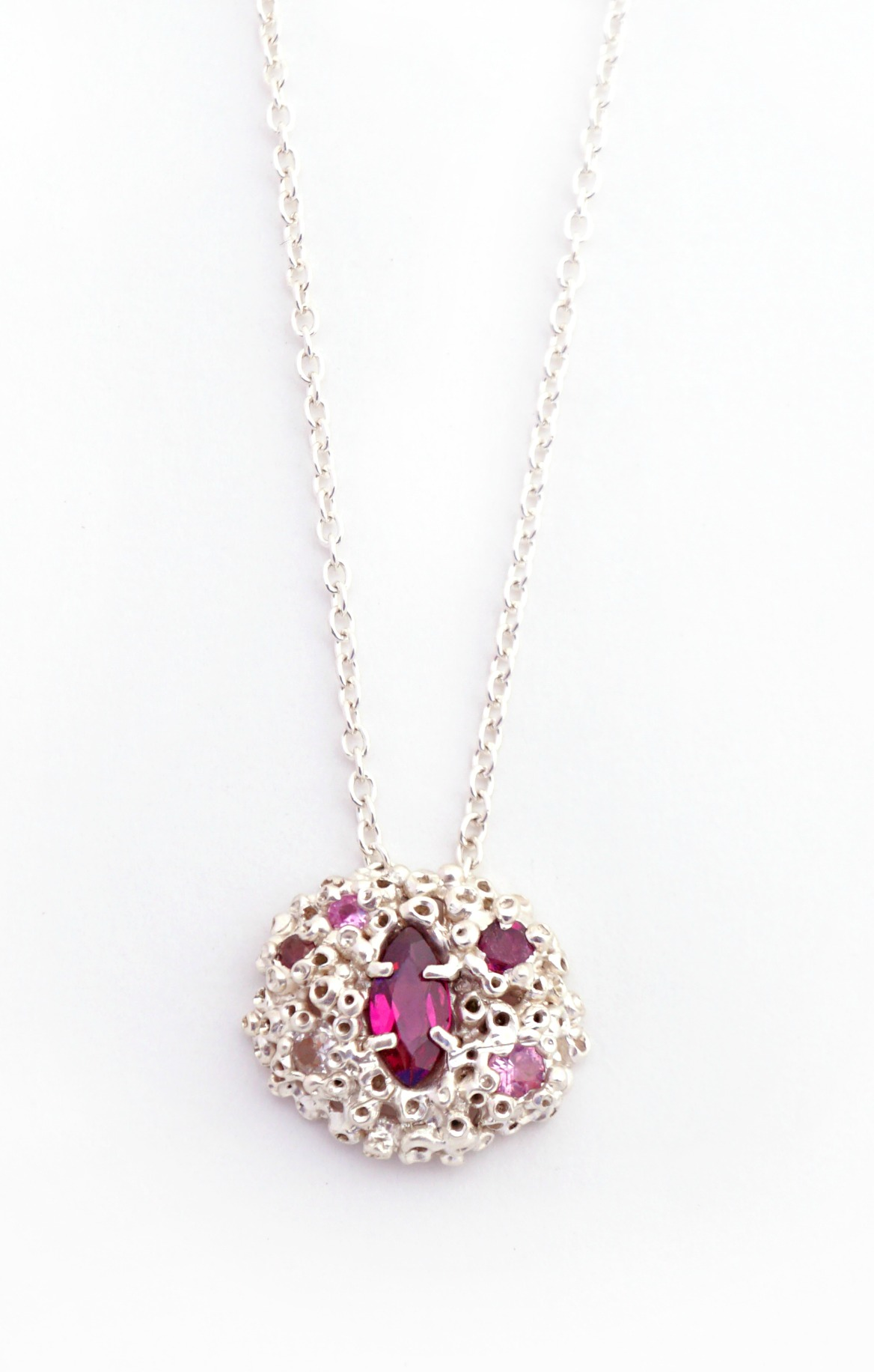 Ruta Reifen So Fine Collection Madres silver necklace with pink sapphires and rhodolite.
