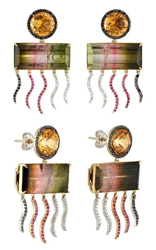 Sharon Khazzam Sateem drop earrings with citrine, pink-green tourmaline, white diamonds, black diamonds, pink sapphires.