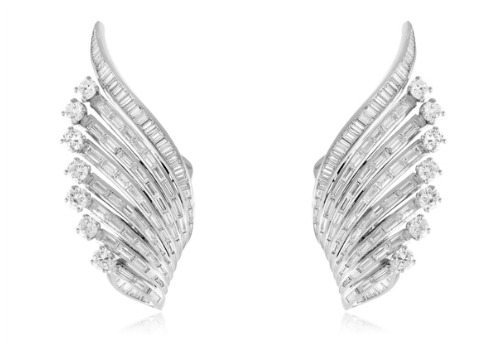 Stone and Strand Estate Collection diamond wing earrings from the 1940's. With 10 carats of diamonds.